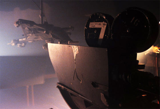 Creeps spaceship being filmed in a smoke room to simulate foggy night.